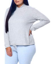 Plus Size - Brushed Thermal L/S Extended Shoulder Hoodie W/Hem Cashing (Plus)-2441657