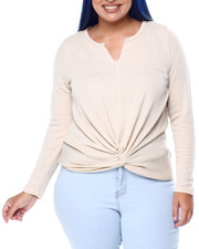 DEREK HEART - Sweater Knit L/S Notch Nk Top W/Twist Front (Plus)-2441554