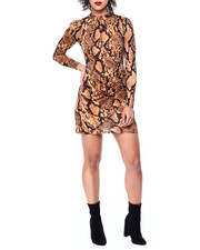 Fashion Lab - Animal Print Mock Neck L/S Dress-2441714