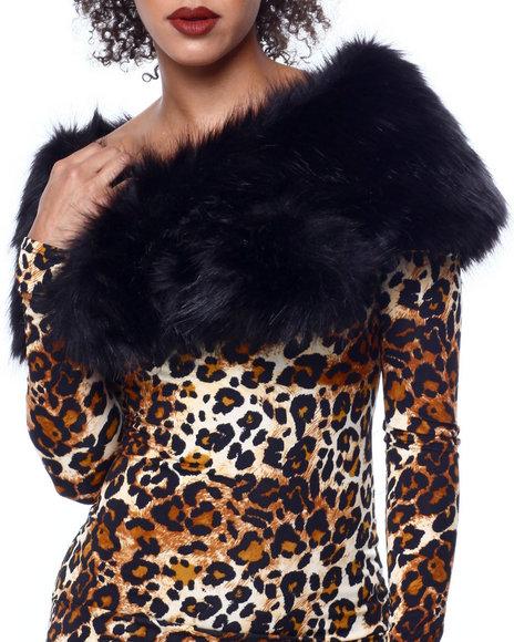 Fashion Lab - Faux Fur Shawl Scarf w/ Slit