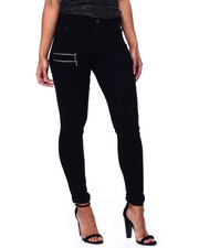 Women - Double Zipper Side High Waist Skinny Jean-2439486