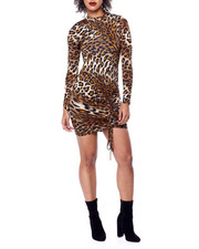 Going-Out-Outfits - Animal Print Mock Neck L/S Dress W/Ruched Drawstring Side-2441718