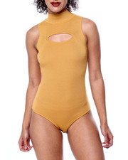Athleisure for Women - S/L Mock Neck Ribbed Keyhole Front Bodysuit-2441077
