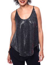 Tanks, Tubes & Camis - Sequins Spagh Strap Mesh Lined Top-2441146