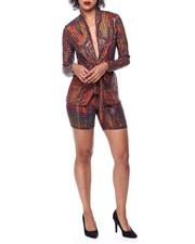Fashion Lab - Sequins Tie Frt Blazer & Bike Short Set-2441726