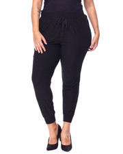 Plus Size - Solid Brushed Yummy Jersey Joggers(Plus)-2442109