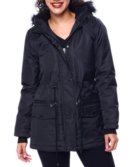 Fashion Lab - Puffer Anorak Jacket W/Faux Fur Trim Hood