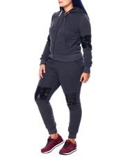 Sets - Sequin Detail Zip Hoodie & Jogger (Plus)-2441743