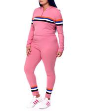 Sets - Jersey Placement Stripe Half Zip Hoodie & Legging Set (Plus)-2441625