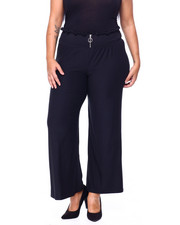 Bottoms - Brushed Jersey Smocked Zip Front Pant (Plus)-2441698