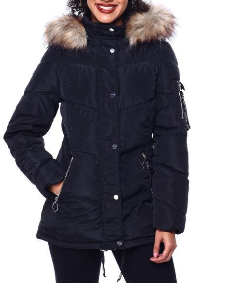 Kendall & Kylie - Faux Fur Trim Hooded Puffer Jacket