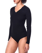 Fashion Lab - L/S Ribbed V Neck Bodysuit-2441108
