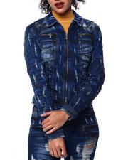 Womens-Winter - Distressed Zipper Pocket Denim Jacket-2439403