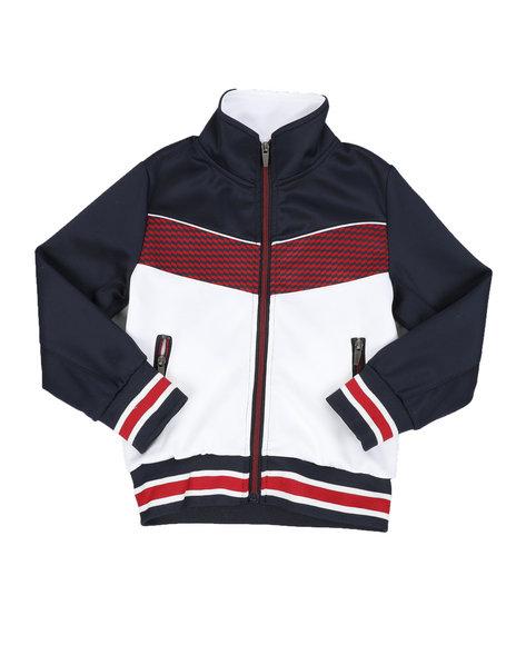 Arcade Styles - Color Block Herringbone Chevron Track Jacket (4-7)