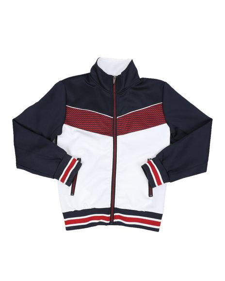 Arcade Styles - Color Block Herringbone Chevron Track Jacket (8-18)