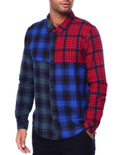 Kuwalla - Color Block Plaid Shirt-2442278