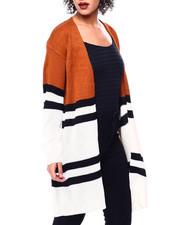 Sweaters - Colorblock Stripe Chenille Oversize Open Cardigan-2442066