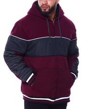 Big & Tall - Chest Color Block W/Piping Lined Fleece Jacket (B&T)-2445465