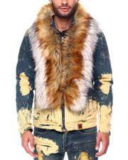 Makobi - Denim Jacket w Detachable Fur Collar-2446874
