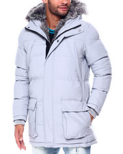 Mens-Winter - Puffer coat w Faux Fur Trim Hood-2446927