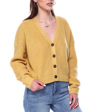 Sweaters - V-Neck Ribbed Button Down Cardigan-2447870