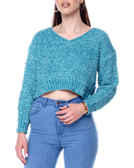 Fashion Lab - V-Neck Rib Hem Sweater