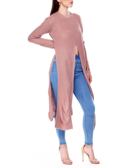 Fashion Lab - Extra Long Slit Side Tie Front L/S Sweater