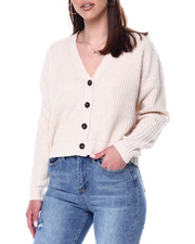 Sweaters - V-Neck Ribbed Button Down Cardigan-2447857