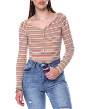 Fashion Lab - Stripe Ribbed L/S Scoop Neck Front Button Placket Bodysuit-2447681