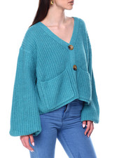 Sweaters - V-Neck Button Down Ribbed Puff Sleeve Sweater-2447975
