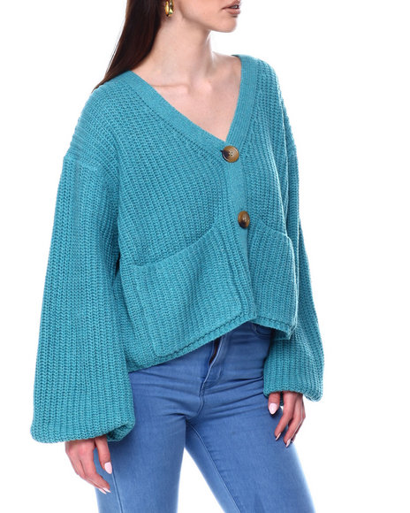 Fashion Lab - V-Neck Button Down Ribbed Puff Sleeve Sweater