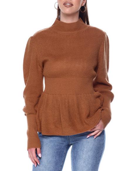 Fashion Lab - Ribbed Elastic Waist Peplum Sweater