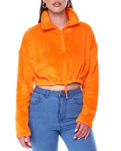 Fashion Lab - Velvet Half Zip Drawstring Hem Pullover