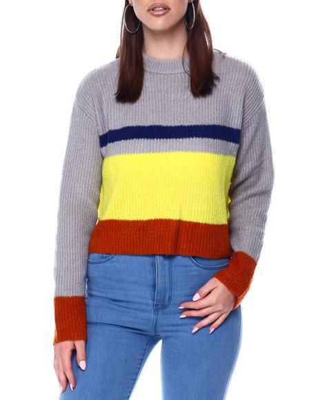 Fashion Lab - Colorblock Rib Crewneck Sweater