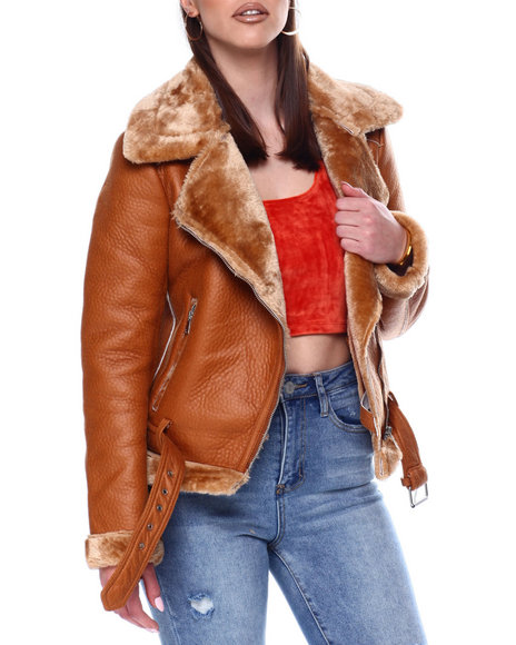 Fashion Lab - Shearling Faux Leather Jacket