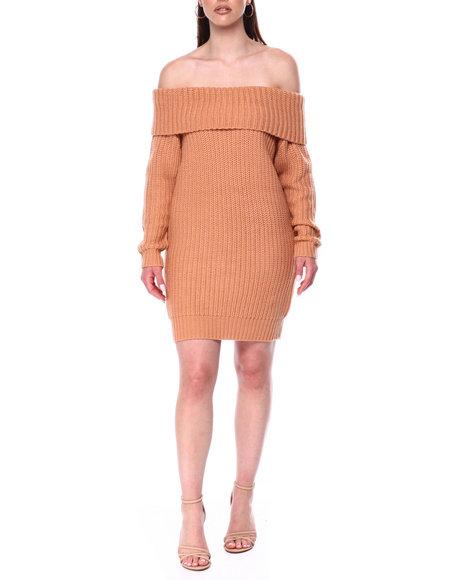 Fashion Lab - Off Shoulder Ribbed Sweater Dress
