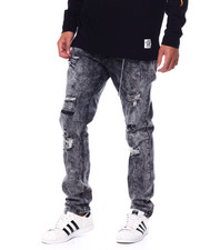 Men - Bleach Out Distressed Stretch Jean W Embroidered Knee Detail-2448812