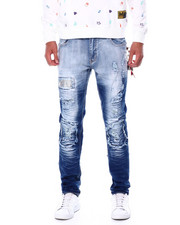Men - CHECKERBOARD PATCH RIPPED JEAN-2448804