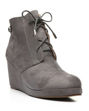 Fashion Lab - Wedge Lace-Up Boots-2447645