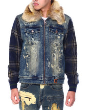 Denim Jackets - Jacket w Plaid Contrast-2448665