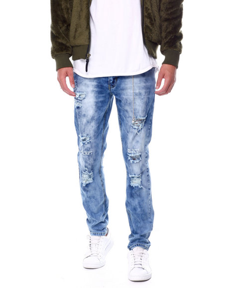 Buyers Picks - Bleach Out Distressed Stretch Jean W Embroidered Knee Detail