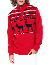 Chaps - Reindeer Quarter Zip Sweater-2448979