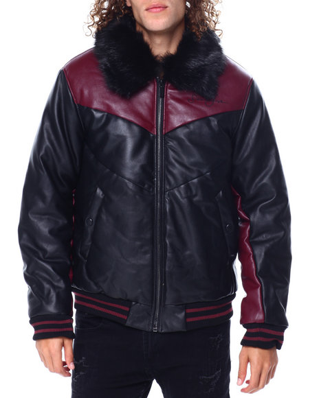 Sean John - PU Colorblock Chevron Jacket w FAux Fur Collar