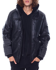 Mens-Winter - Herringbone and PU Hooded Parka-2450300