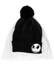 Hats - Nightmare Before Christmas Jack Veil Beanie With Pom Pom-2448296