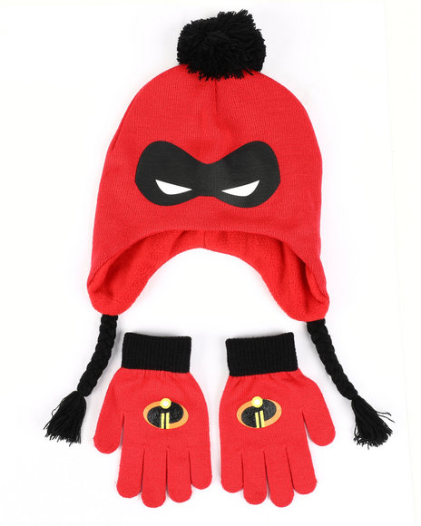 Arcade Styles - Incredibles 2 Mask Peruvian Knit Hat & Gloves Set