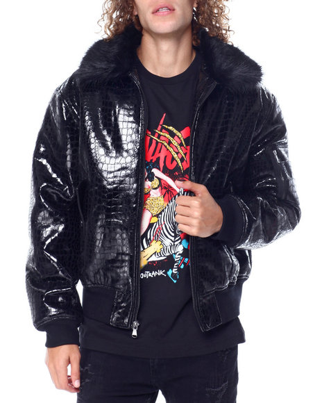 Hudson NYC - Croco Embossed Bomber Faux Fur Collar