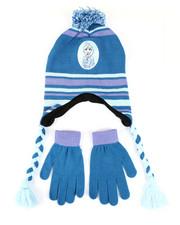 Girls - Frozen 2 Elsa Pom Peruvian Hat & Gloves Set-2448249