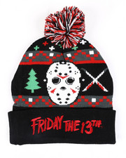 Fashion Lab - Friday The 13th Jason Ugly Xmas Cuff Pom Beanie-2448302