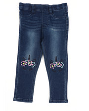Bottoms - Pull-On Denim Jeggings W/ Knee Embroidery (2T-4T)-2443181